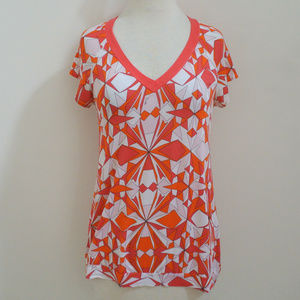 EMILIO PUCCI abstract print v neck top t-shirt